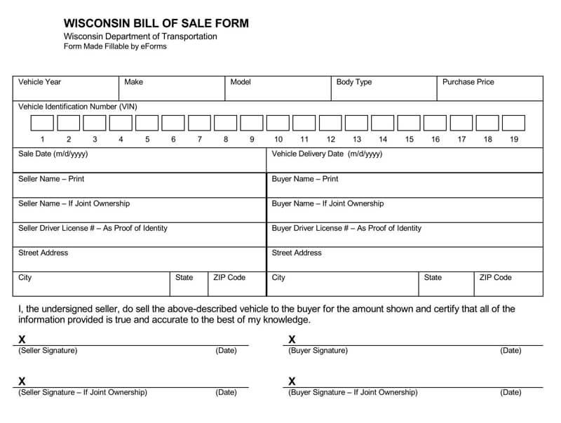 Wisconsin Motor Vehicle Bill of Sale Form