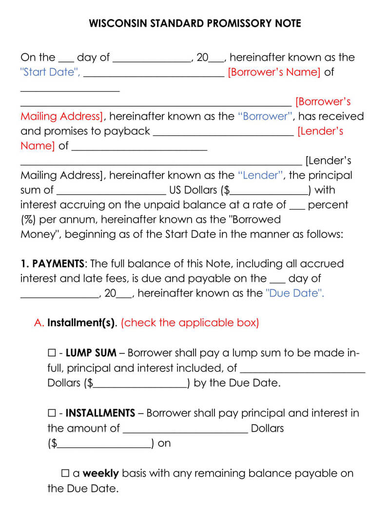 Wisconsin Promissory Note Template