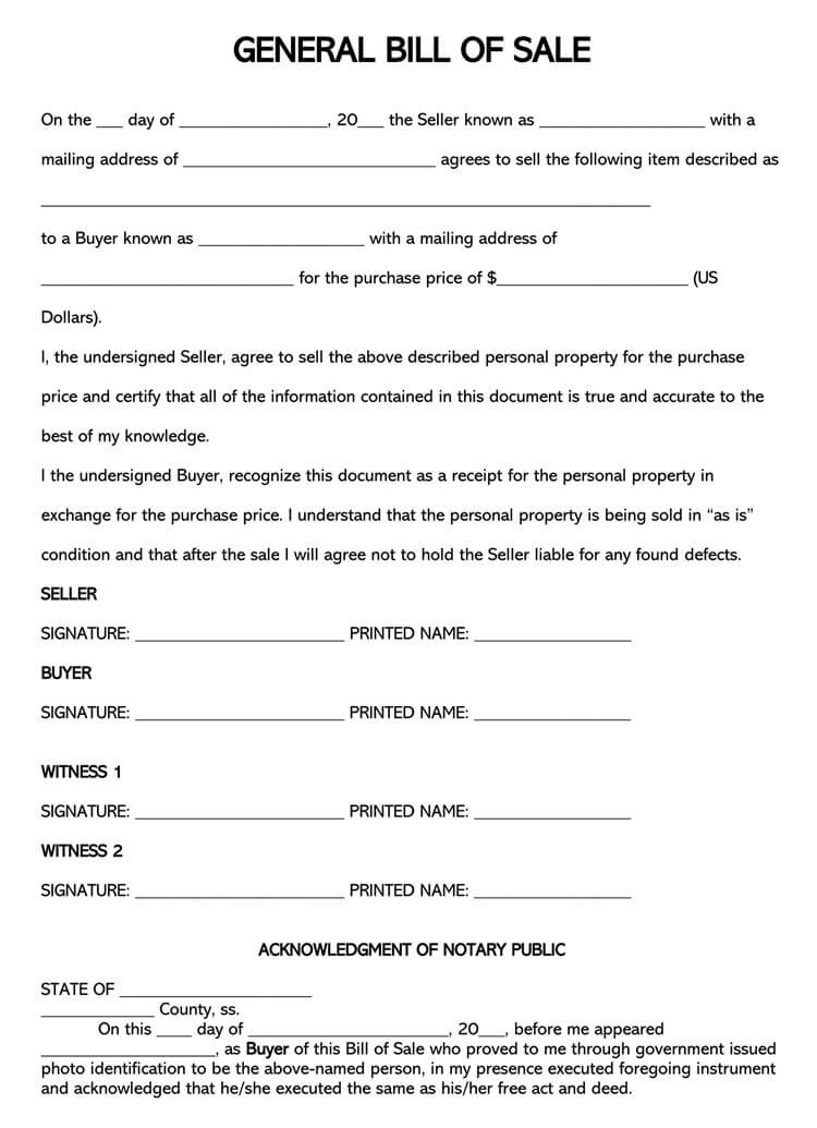 Property Bill of Sale Form