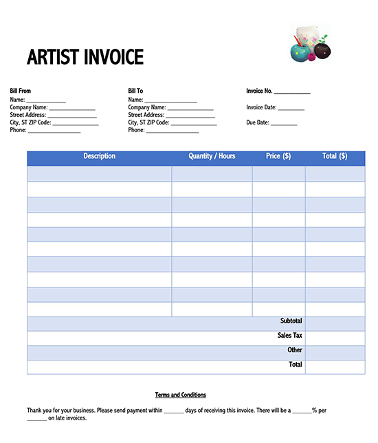 blank invoice template excel download