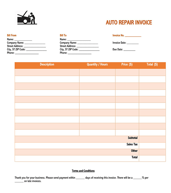 blank invoice template google sheets