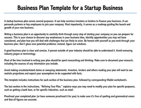 business plan template word