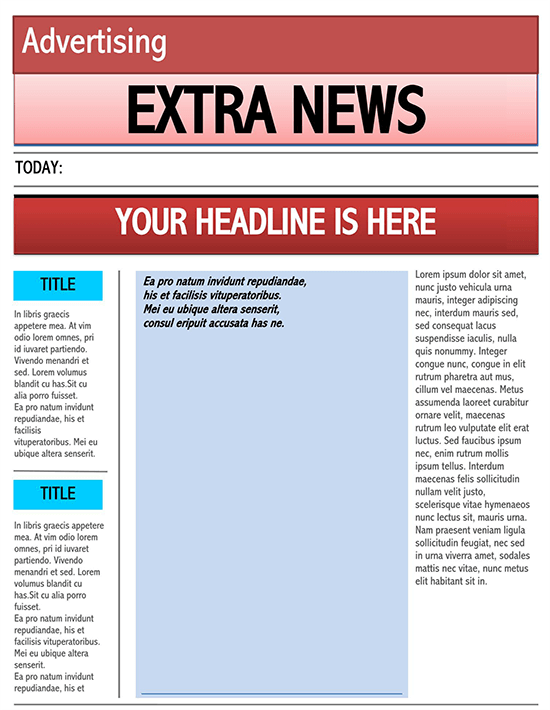 old newspaper template word