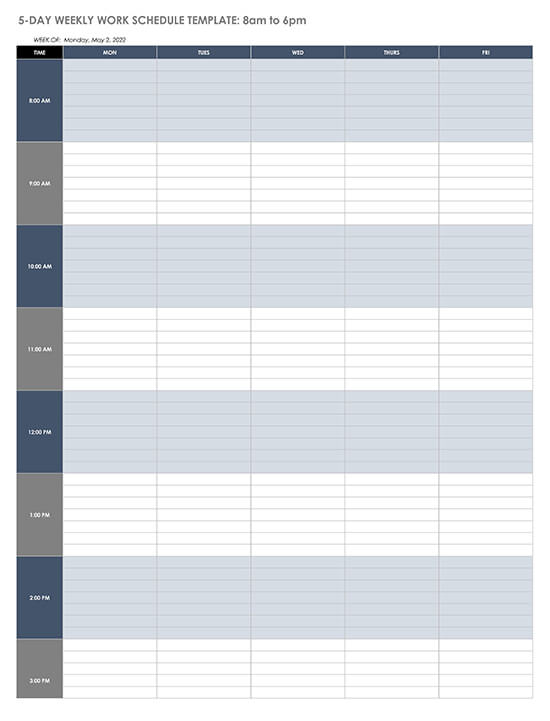 5-Day 8am-6pm Weekly Work Schedule Template
