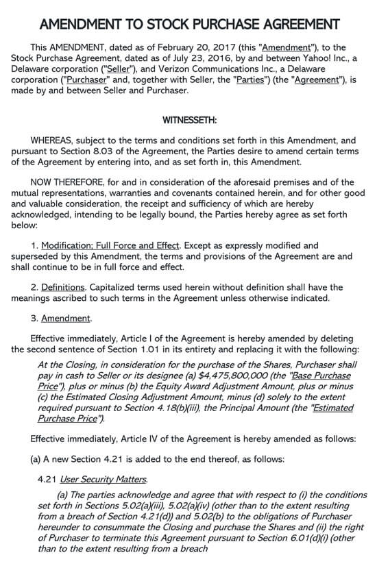 Amendment To Stock Purchase Agreement