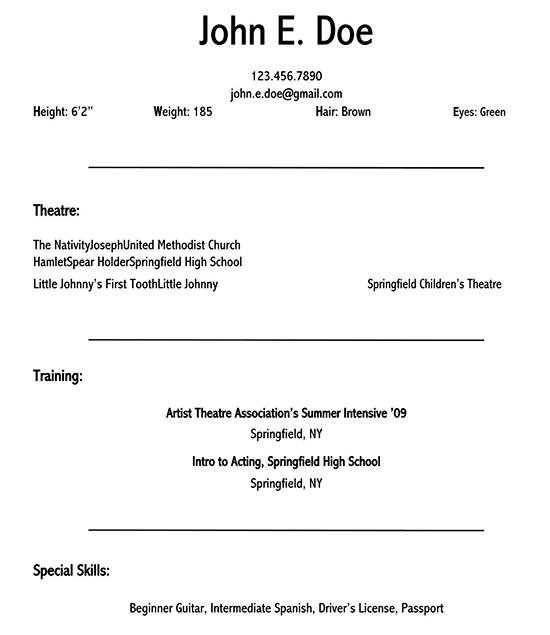 acting performance resume