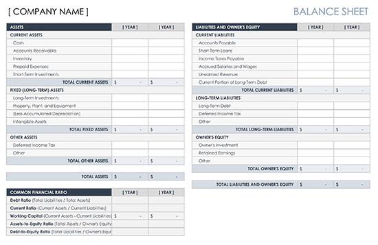 Basic Balance Sheet Template