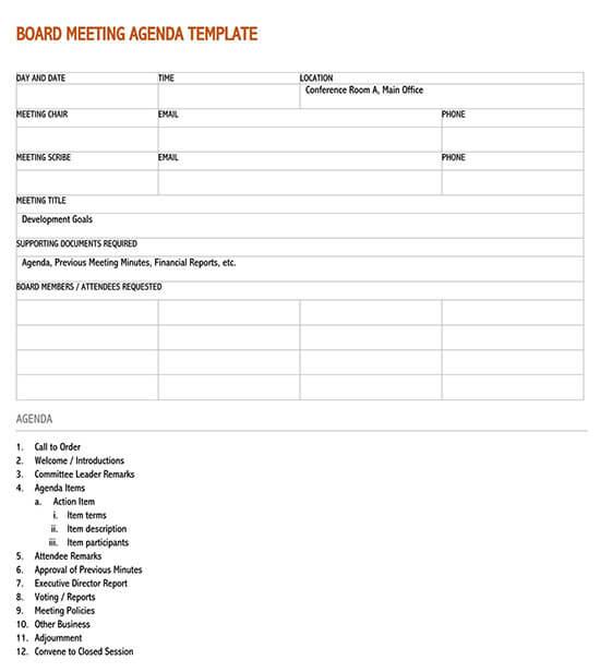 Business meeting agenda sample