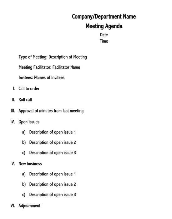 Formal meeting agenda template 01