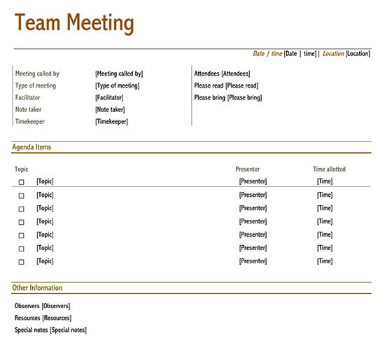 Creative meeting agenda template 01