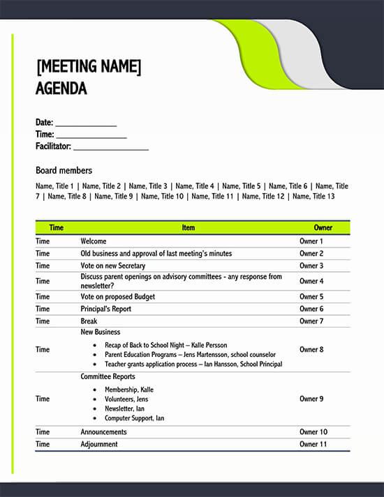 Meeting Agenda Template PDF 01