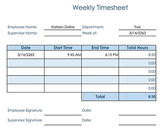Basic Weekly Timesheet for Consultant