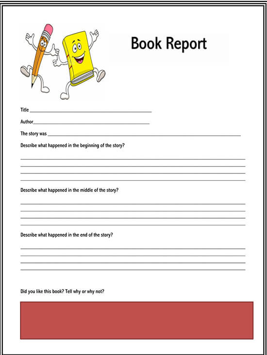 book report template college