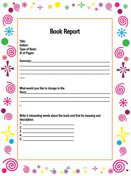book report template 5th grade 01