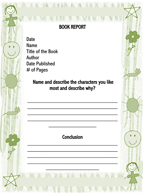 book report template 3rd grade 01