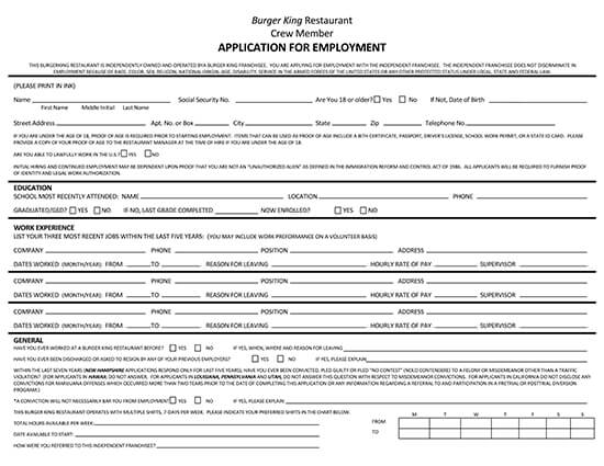 Burger King Application Form