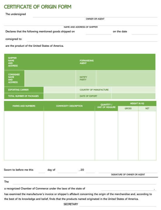 Certificate Of Origin Form