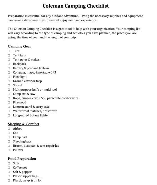 Camping Checklist Coleman