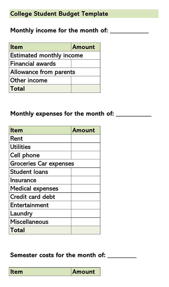 College Budget Template