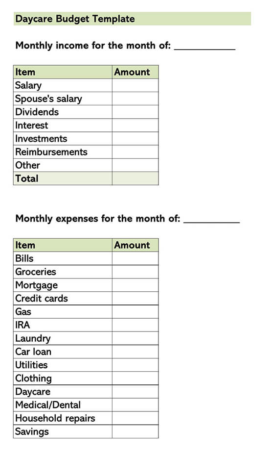 Daycare Budget Template