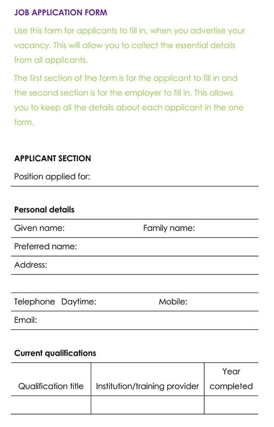 Employment Application Template 01