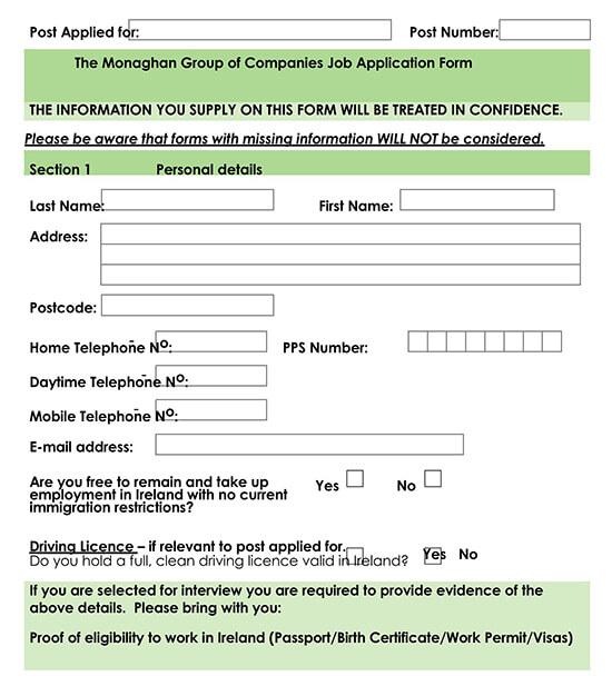 Employment Application Template 05