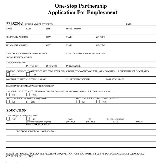 Employment Application Template 07