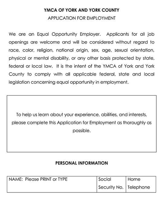 Employment Application Template 08