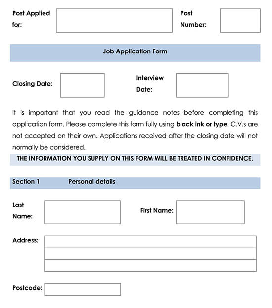 Employment Application Template 09