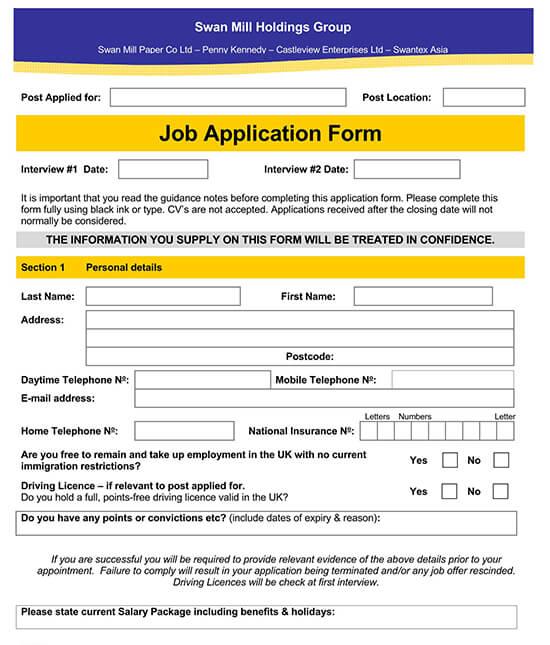 Employment Application Template 10