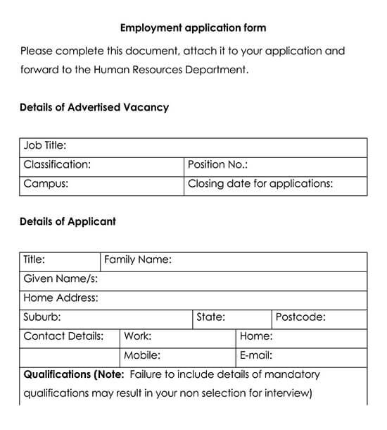 Employment Application Template 13