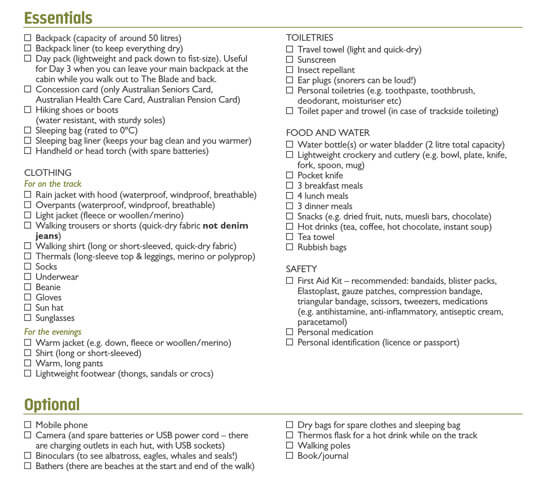 Packing List Template Format