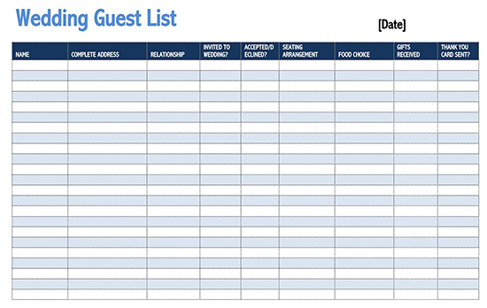 Guest sign in sheet