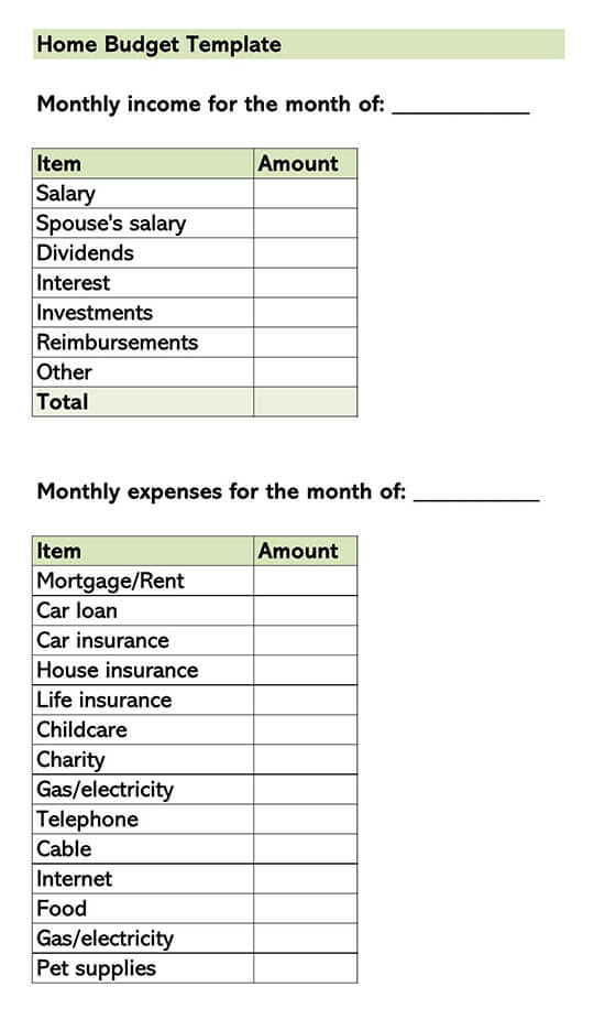 Home Budget Template