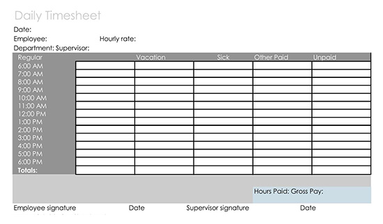 Hourly Timesheet Daily Template