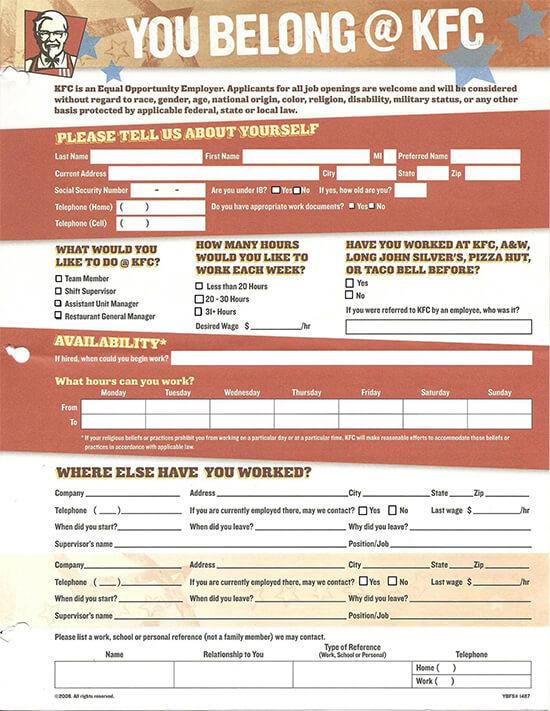 KFC Job Application Form Fillable 03