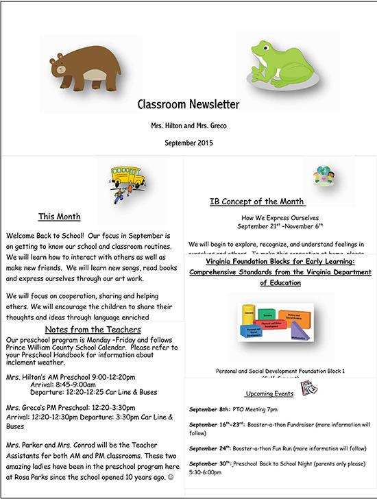 kindergarten newsletter november
