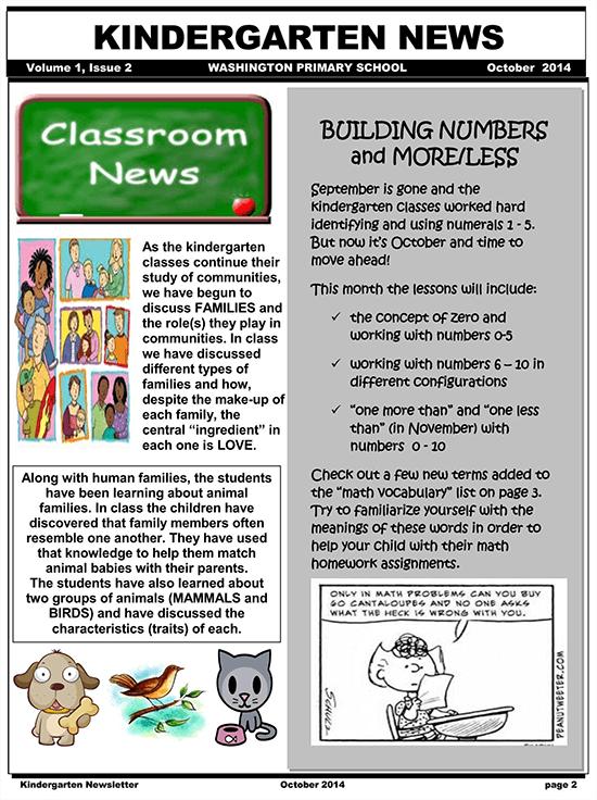 kindergarten newsletter november 01
