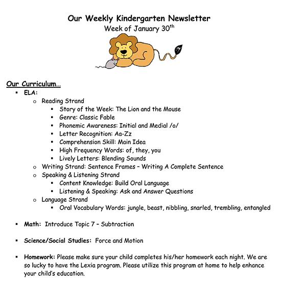 kindergarten newsletter february 01