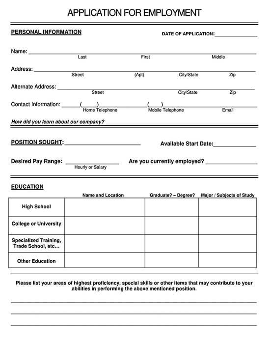 McDonalds Application Form