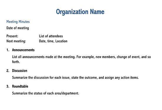 meeting minutes template pages