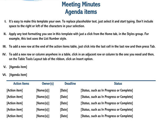 simple meeting minutes template 01