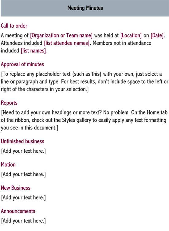 informal meeting minutes template 02