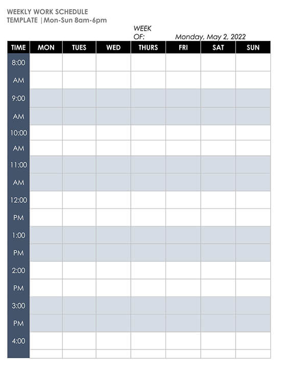 Mon-Sun 8-6pm Weekly Schedule Template WORD