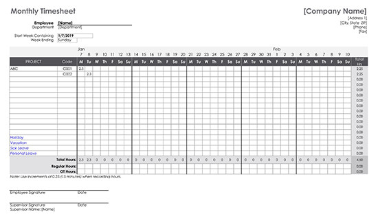 Monthly Timesheet Sample Form