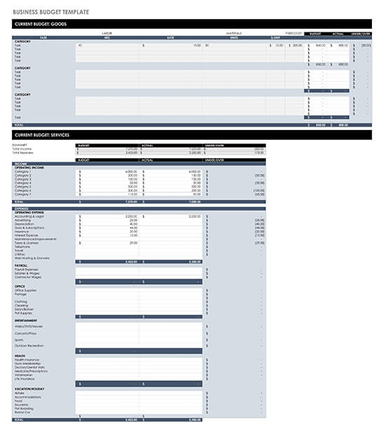 Personal Business Budget Template Updated