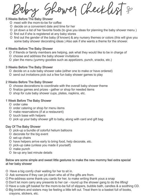 Printable Baby Shower Checklist
