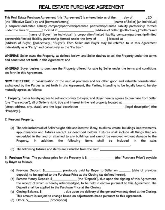 Printable Real Estate Purchase Agreement