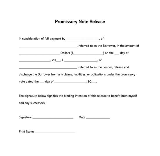 Promissory Note Loan Release Form