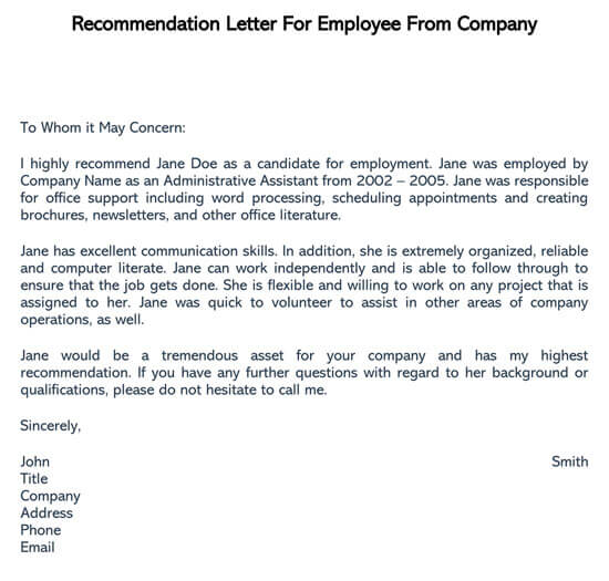Recommendation-Letter-For-Employee